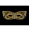 Golden carnival mask on black background vector image vector image