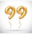 golden number 99 ninety nine metallic balloon vector image vector image