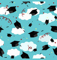 graduates hats in the air graduation caps in the vector image vector image