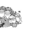 graphic honey bottles surrounded honeycombs vector image