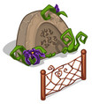 Gravestone with flowers and fence in cartoon style