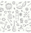 Hand drawn hipster seamless pattern over white vector image vector image