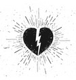 handdrawn broken heart icon on grunge background vector image