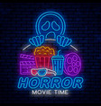 horror movie time night neon sign vector image vector image