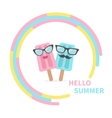 Ice cream couple with lips mustaches and vector image