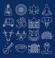 india icons collection in thin line style vector image vector image
