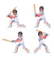 isolated batting sport game cricket batsman vector image vector image