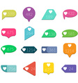 Like Counter Notification Flat design Icons Set on vector image