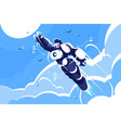 man astronaut super hero spacesuit flying in sky vector image