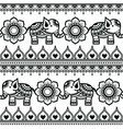 mehndi indian pattern with elephants vector image