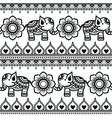mehndi indian pattern with elephants vector image