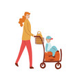 mom with child walking vector image