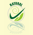 natural logotype in green composed in circle vector image vector image