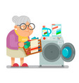 old woman lady wash dirty clothes laundry washing vector image vector image