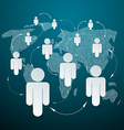 Paper People on World Map - Social Media vector image vector image