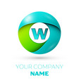 realistic letter w logo in colorful circle vector image vector image