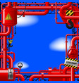 red gas pipes on blue sky vector image vector image