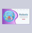 robotics online lessons with cute robots and vector image vector image