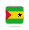 sao tome and principe flagmetallic square button vector image vector image