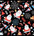 seamless pattern santa claus and christmas vector image vector image