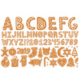 set alphabet holidays gingerbread cookies vector image vector image