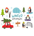 set isolated cute penguins in winter part 1 vector image vector image