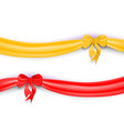 set of red and yellow ribbons with bow and shadow vector image