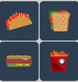 Snacks colorful icon set vector image