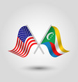 two crossed american and comorian flags vector image vector image