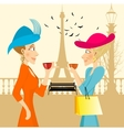 two rich women looking at each other vector image vector image