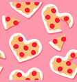 valentines day pink pizza heart seamless pattern vector image vector image