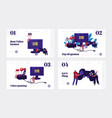 video games recreation landing page template set vector image vector image