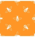 white bees orange background seamless vector image vector image