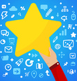 Mans hand holding a large yellow star on a blue vector image