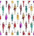 Seamless pattern of women in fashionable clothes vector image