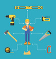worker builder in uniform and helmet vector image