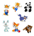 animals fox rabbit panda raccoon cat set vector image vector image