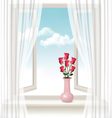 Background with an open window and a vase with vector image vector image