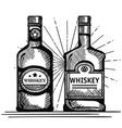 best whiskey set bottles drawn vector image vector image