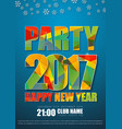 blue poster design for new years party in 2017 vector image vector image
