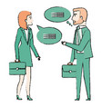 businesspeople with speech bubbles avatars vector image