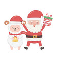 cute santa with gift and sheep hoding bell merry vector image