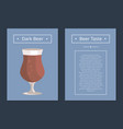 dark beer set of posters with blue background vector image