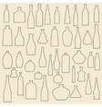 Different bottle types linear icons set vector image