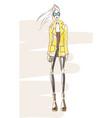 fashion-coat-yellow vector image