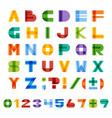 geometric half-transparent square alphabet vector image