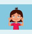 girl showing her ears cartoon vector image