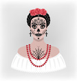 girl with makeup for Day of the Dead vector image vector image