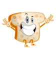 happy bread on white background vector image vector image
