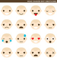 Head shaved boy emoticons vector image vector image